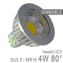 Ampoule LED GU5.3 - 4W COB Aluminium 80° Dimmable
