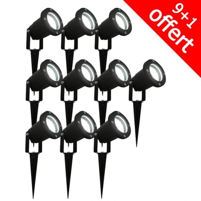 Pack de 10 spots piquet extérieur 28 LED 3W 6500K (9+1 offert)