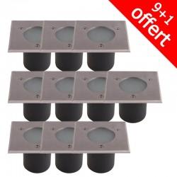 Pack de 10 spots 230V encastrables extérieurs à douille GU10 (9+1 offerte)