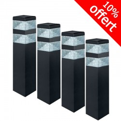 Pack de 4 bornes Pyramide Inox 32 LED SMD 9W Finition Noire 40 cm