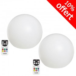 Lot de 2 boules lumineuses Multicolores Rechargeable BOBBY C Ø30 cm