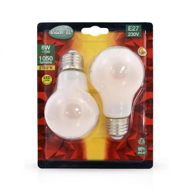 Lot de 2 ampoules LED E27 8W Bulb filament