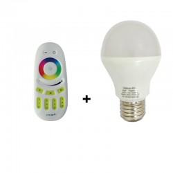 Ampoule LED E27 9W Bulb RGBW + Télécommande