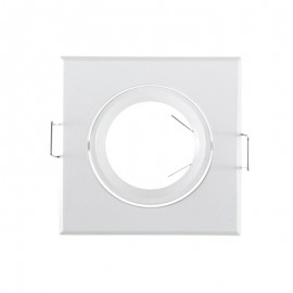Support de spot Carré Orientable Blanc 84x84mm à lamelle