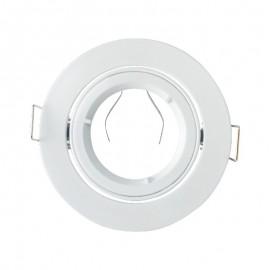 Support de Spot Rond Orientable Blanc Ø95mm 1/4 de tour