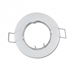Lot de 10 Supports de spot rond fixe en Acier Blanc Ø77mm
