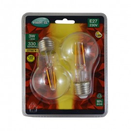 Lot de 2 Ampoules LED E27 3W COB Filament Bulb