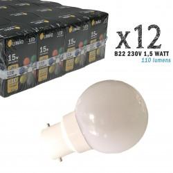 Lot de 12 ampoules LED B22 1,5W Blanc Froid (équivalence 15W) pour Guirlande Extérieure