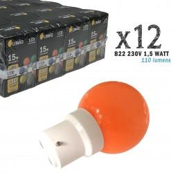 Lot de 12 ampoules LED B22 1.5W Orange Incassables (équivalence 15W) pour Guirlande Extérieure