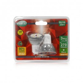 Lot de 2 Ampoules LED GU10 3W 120°