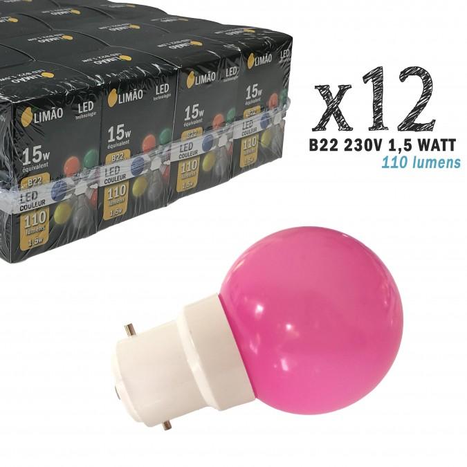 Lot de 12 ampoules LED B22 1W Roses Incassables (équivalence 15W) pour Guirlande Extérieure