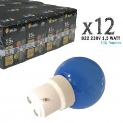 Lot de 12 ampoules LED B22 1W Bleues Incassables (équivalence 15W) pour Guirlande Extérieure