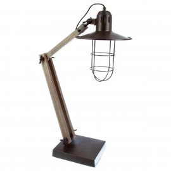 Lampe noire GRIK en bois & métal H75