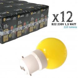 Lot de 12 ampoules LED B22 1.5W Jaunes Incassables (équivalence 15W) pour Guirlande Extérieure
