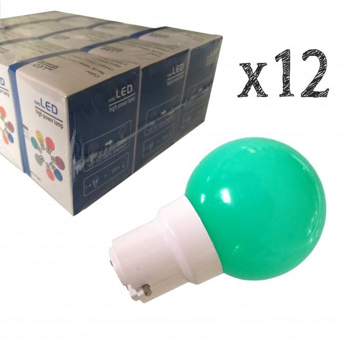 Lot de 12 ampoules LED B22 1.5W Bleues Incassables (équivalence 15W) pour Guirlande Extérieure