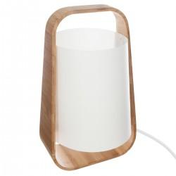 Lampe bambou & abat-jour plastique H35