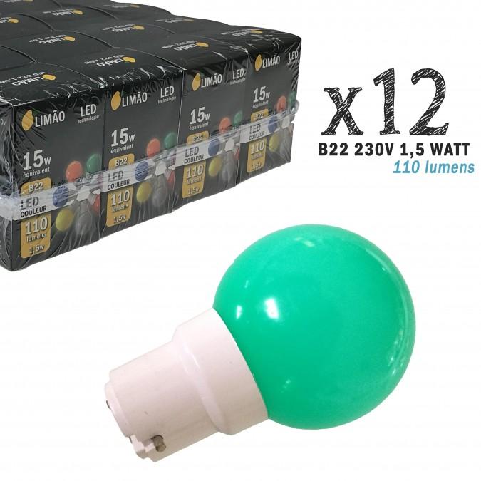 Lot de 12 ampoules LED B22 1,5W Vertes Incassables (équivalence 15W) pour Guirlande Extérieure