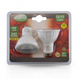 Lot de 2 Ampoules LED GU10 4W 45°