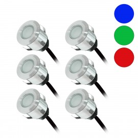Kit Complet 6 Mini Spots Encastrables 12V LED Bleu, Vert, Rouge
