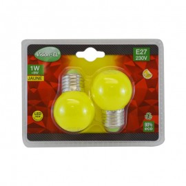 Pack de 2x Ampoules LED E27 1W Couleur