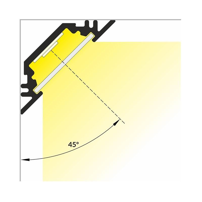 Profilé Aluminium Led Angle 45 Ruban Led 10mm