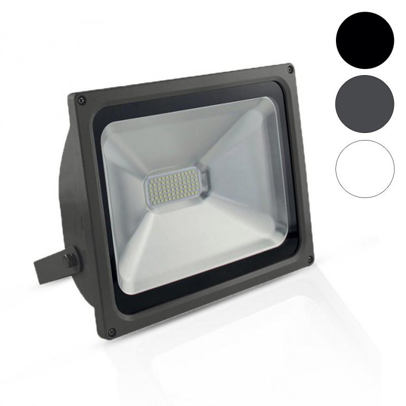 DEL IP65 Projecteur noir jardin extérieur 50 W Slim Lampe Spot Allée 6500K Light