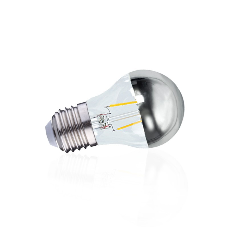 G45 Calotte Led E27 Argentée Filament 2w Ampoule OZTXwPiuk