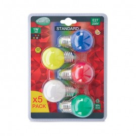 Pack de 5x Ampoules LED E272 1W Couleurs