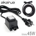 Alimentation électronique LED 45W Etanche IP67 12V + 2M de câble 12V