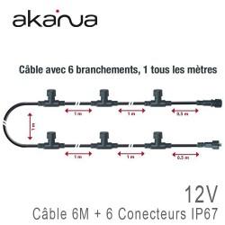 Câble Chaînage 6 mètres + 6 Sorties IP67 12V