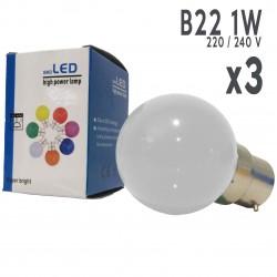 Lot de 3 ampoules LED B22 1W Blanc Froid Incassables (équivalence 15W) pour Guirlande Extérieure