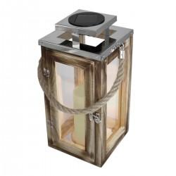 Lanterne lumineuse en bois solaire OAKY
