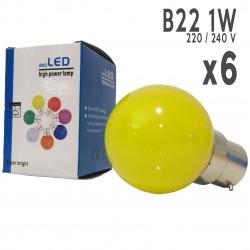 Lot de 6 ampoules LED B22 1W Jaunes Incassables (équivalence 15W) pour Guirlande Extérieure