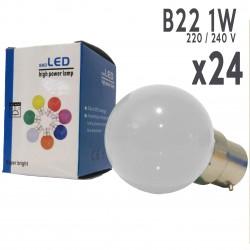 Lot de 24 ampoules LED B22 1W Blanc Chaud Incassables (équivalence 15W) pour Guirlande Extérieure